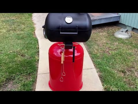 cooking on a  homemade propane tank grill