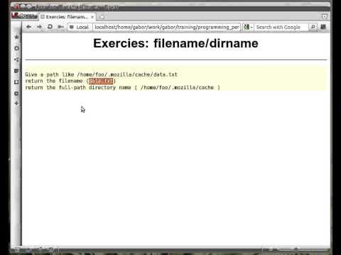 Beginner Perl Maven tutorial: 10.16 - Exercise split path - filename/dirname