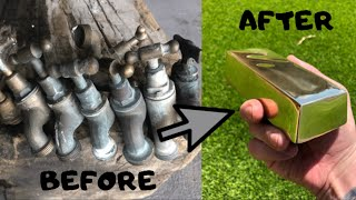 Perfect Mirrored Bar From Old Scrap Taps - Trash To Treasure - ASMR BRASS CASTING