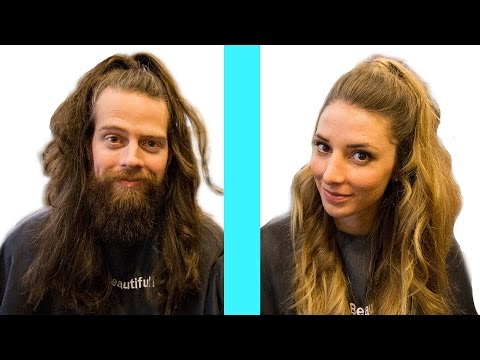 Husband Tries Wife's Hairstyles