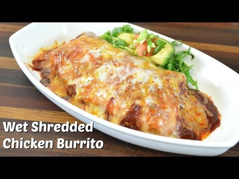 Wet Shredded Chicken Burrito Recipe w/ Vegetarian Variation | Crock Pot Recipe |Cooking with Carolyn