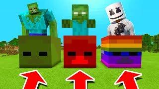 Minecraft PE : DO NOT CHOOSE THE WRONG ZOMBIE HEAD! (Mutant Zombie, Zombiebrine & Marshmello)