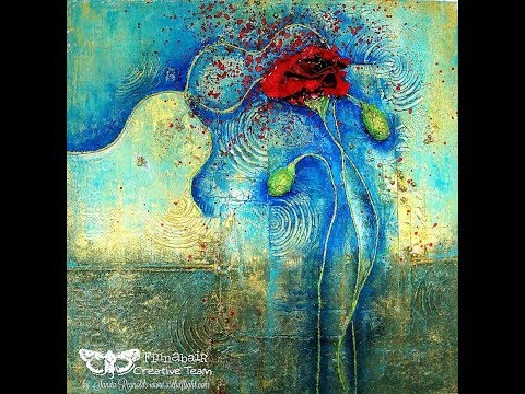 Mixed media collage painting Red Poppy for Finnabair Creative Team