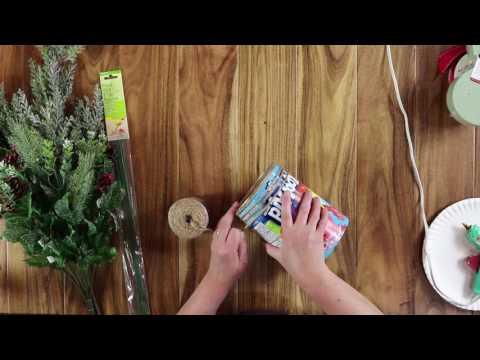 DIY winter twine vase