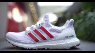 f5992f44266 Adidas Ultra Boost 4.0 Active Red Cloud White Review and On Feet