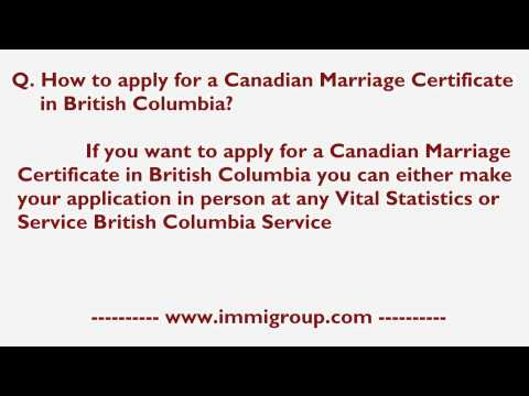 How To Apply For A Canadian Marriage Certificate In British Columbia?