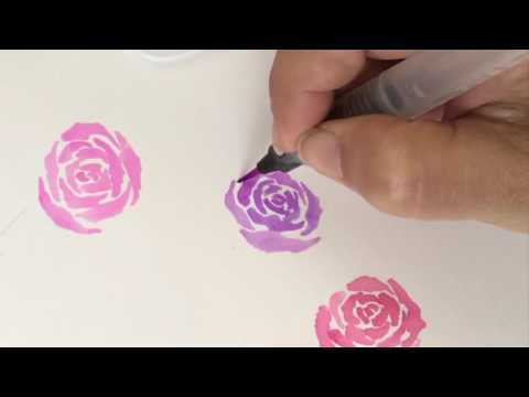 How To Paint a Watercolor Rose Wreath with Le Plume II Markers | Marvy Uchida