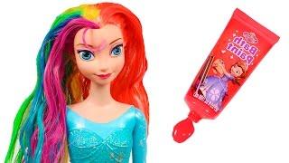 ❄ FROZEN ❄ Teñimos de arco iris a Elsa   Elsa Frozen Juguetes en Español