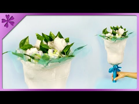 DIY How to make bouquet out of baby clothes, baptism gift (ENG Subtitles) - Speed up #384