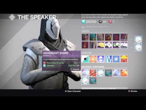 Destiny New Way to Trade Materials Through Speaker