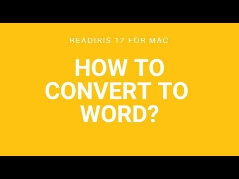 Readiris 17 Mac: Convert to Word