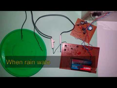 how to make rain water alarm or rain detector electronics projects on breadboard