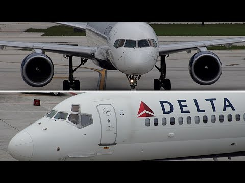{TrueSound}™ Stormy Day MD-90 + 757 Delta Air Lines Terminal Action at Ft. Lauderdale