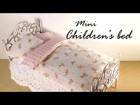 Miniature Furniture; Cute Bed Tutorial - Dolls/Dollhouse