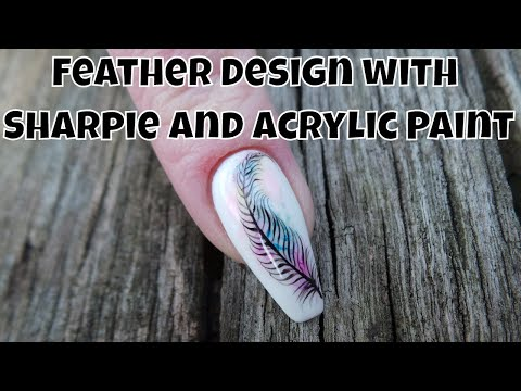 Feather Design with Sharpie and Acrylic Paint