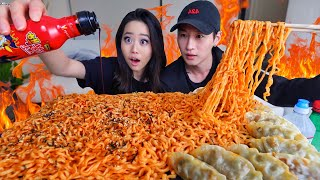 Download 5 PACKS OF 4X NUCLEAR NOODLE CHALLENGE ft. ZACH CHOI ASMR MUKBANG 먹방 | Eating Show Video