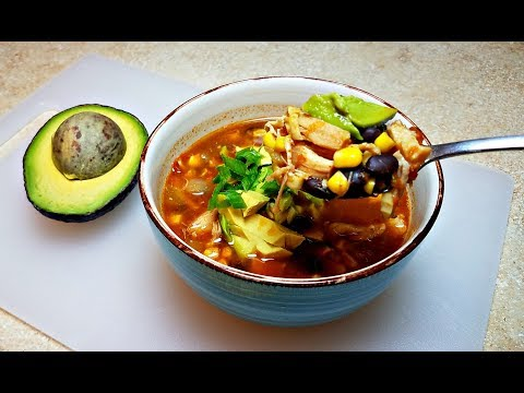 QUICK Chicken Chili Soup | Easy Chicken Black Bean Soup Recipe
