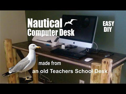 How to make a Nautical Computer Desk from an old teacher's school desk