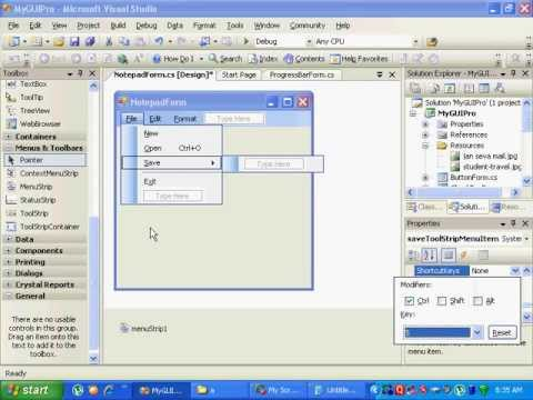 Creating Menu with Dialogs in C#.NET(Hindi)