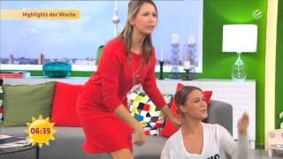 SAT 1 Frühstücksfernsehen - Moderatorin fällt  (Live) - Zahnpastarache