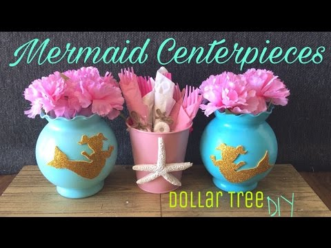 Dollar Tree DIY: Mermaid Centerpiece | Mermaid Birthday Party / Baby Shower