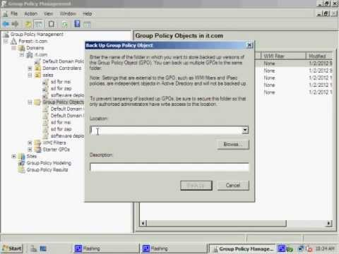 How to configure Group policy backup in server 2008