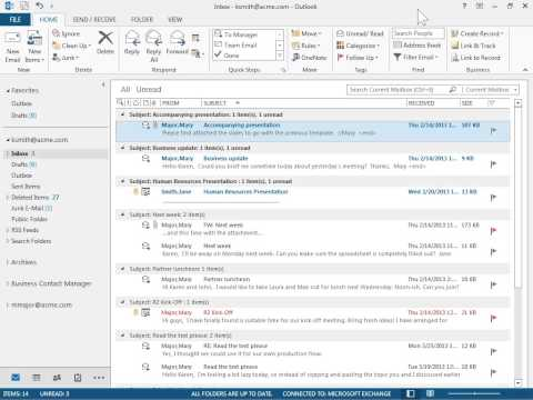 Outlook 2013 View Unread Messages Only