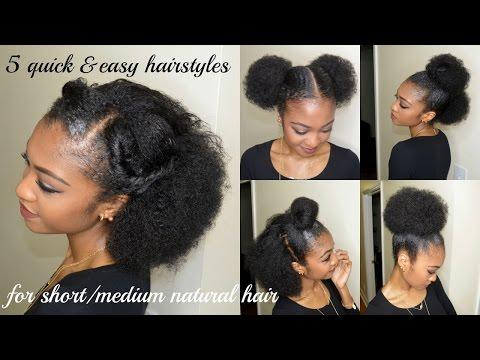 5 QUICK & EASY hairstyles for SHORT/MEDIUM NATURAL HAIR   DisIsReyRey