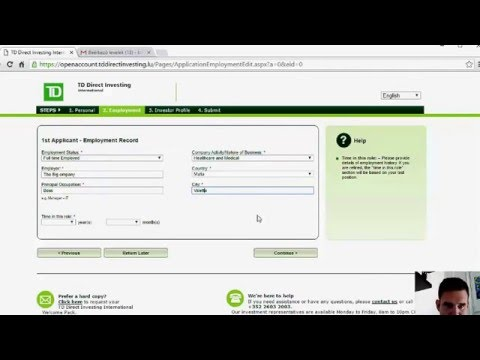 TD Direct Investing account opening guide