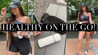 EASY AND QUICK SMOOTHIE + A PORTABLE BLENDER? MY VEJO REVIEW + my pre-workout routine vlog!