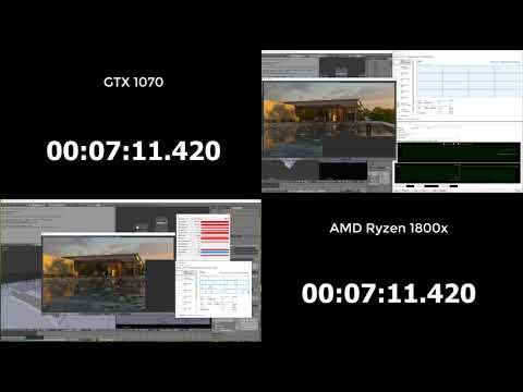 AMD Ryzen 7 1800X vs GTX 1070 in Blender Rendering 3D - Barcelona Pavillion