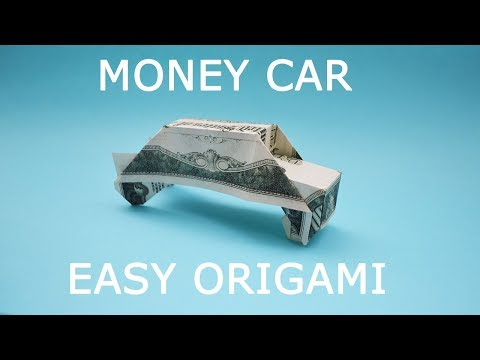 Simple Money CAR Origami 1 Dollar bill Tutorial DIY Folded No glue and tape
