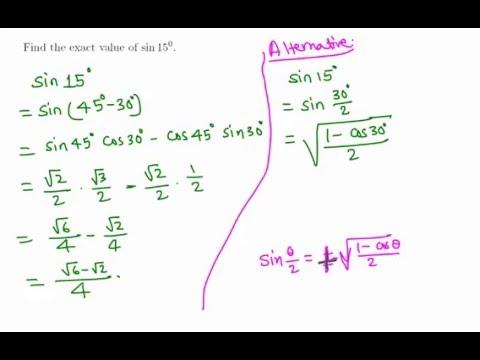 Trigonometry: Exact value of sin 15