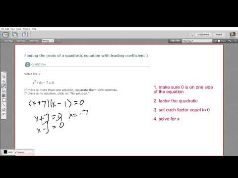 Finding the roots of a quadratic equation with a leading coefficient of 1