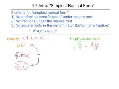 5-7 Intro; Simplest Radical Form