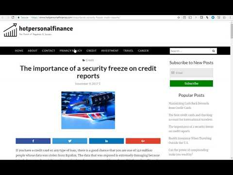 The importance of a Security Freeze.  HotPersonalFinance - Good for Experian 2017 data breach