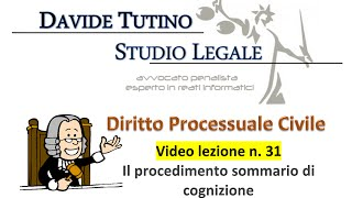 Diritto processuale civile - Video Lezione n.31: Il procedimento sommario di cognizione