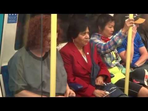 Aruna & Hari Sharma in Jubilee Line London metro from North Greenwich to London Bridge, Jun 09, 2016