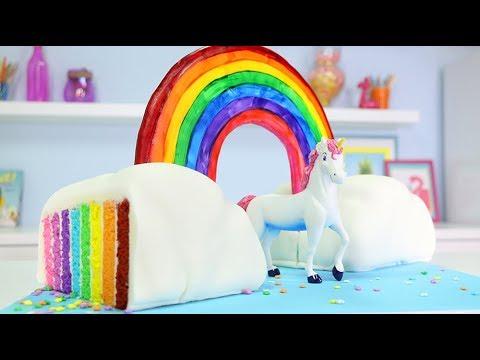 TRIPLE RAINBOW UNICORN CAKE - How to make a 3D Surprise Inside Cloud Cake