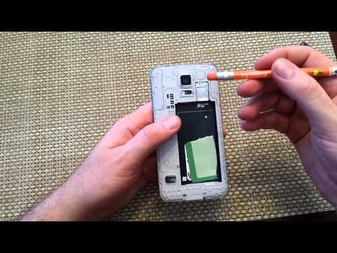Samsung Galaxy S5 Remove install Back cover, Battery, Sim Card, SD memory Card replace insert