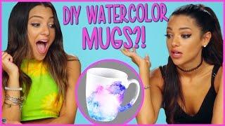 DIY WATERCOLOR MUGS?! | Niki and Gabi DIY or DI-Don