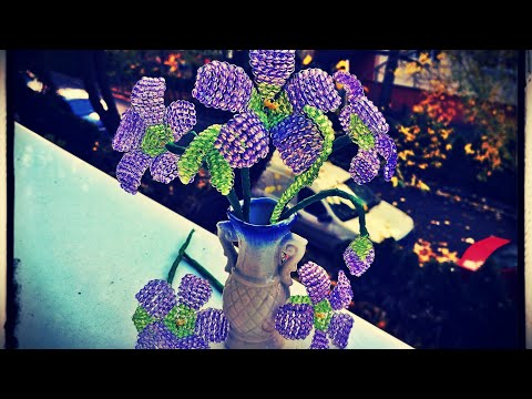 Beaded purple flower - DIY beaded flower