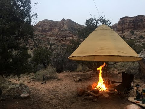 Buckhorn Desert - Rainy Winter Camp - Our shelter gear made it nice