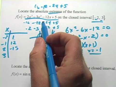 Calculus: Finding the Absolute Extrema of a Function on an Interval
