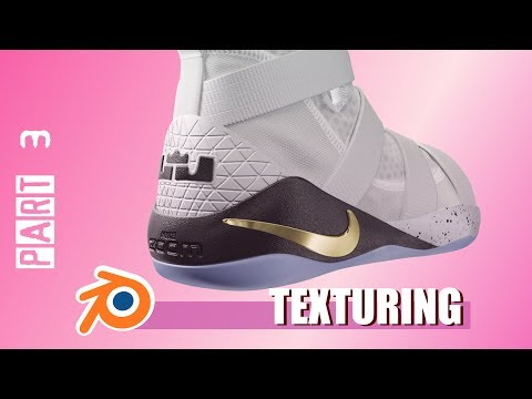 Part 3. Blender 3D texturing time-lapse. Nike LeBron Soldier XI