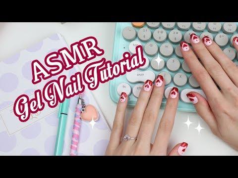 Romantic Hearts Gel Nail Tutorial (ASMR Soft spoken)