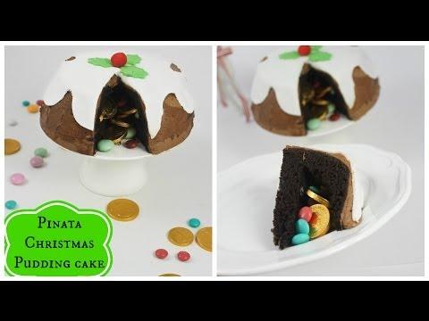 Chocolate Christmas Pudding pinata cake