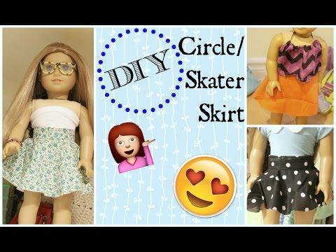 DIY Skater Skirt/Circle Skirt for 18 inch dolls!!!