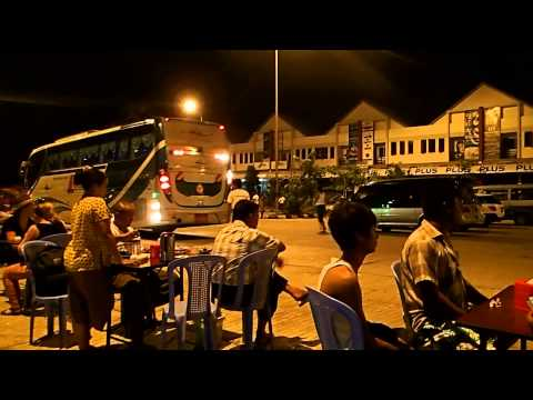 Night bus arriving at Bagan, Burma