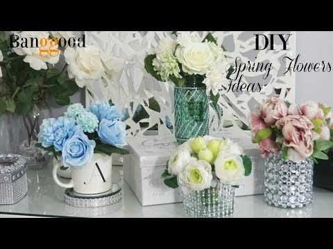 DIY SPRING FLORAL ARRANGEMENTS | DIY HOME DECOR IDEAS 2018  | FT  BANGGOOD FLOWERS | DIY ROOM DECOR